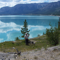 Merv Carlson and his Elkhounds by Abraham Lake